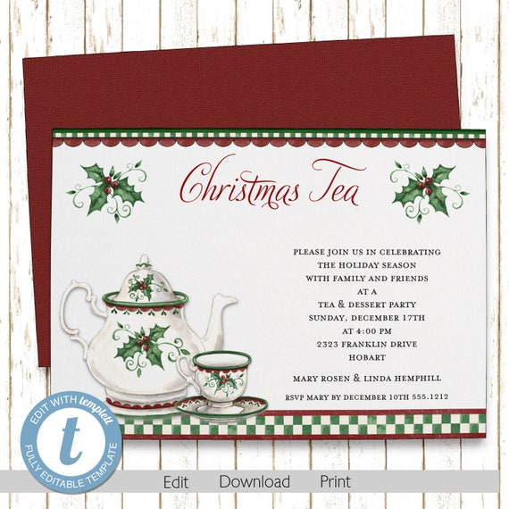 christmas holly tea party christmas invitations printable