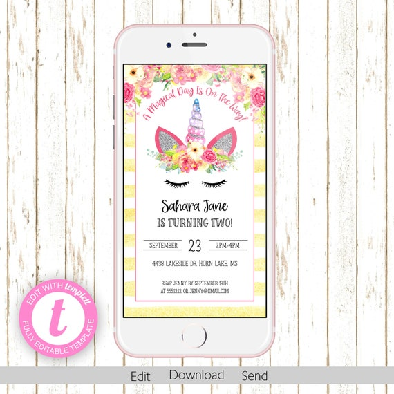 Unicorn Electronic Kids Birthday Invitation