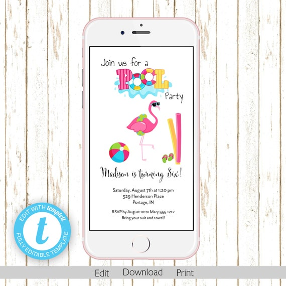 Flamingo Pool Party Electronic Kids Birthday Invitation