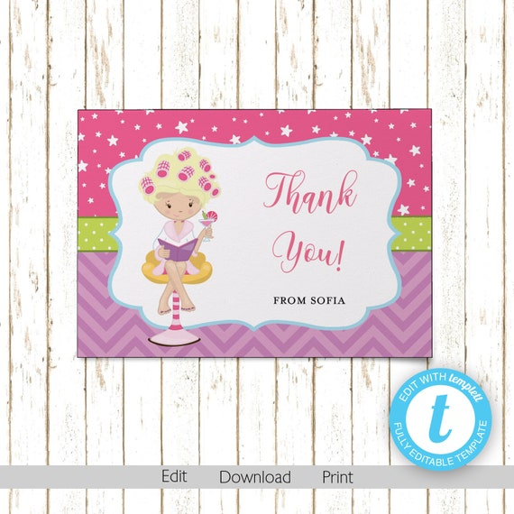 Spa Pampering Thank You Cards Printable Pdf Or Jpeg Instant