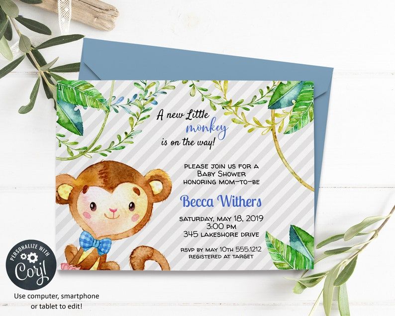 Baby Boy Monkey Invitation