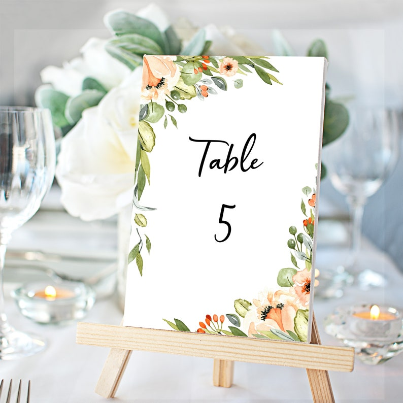 Instant Download Wedding Table Sign Template Orchard Park Wedding Table Numbers WI116 Printable Table Numbers