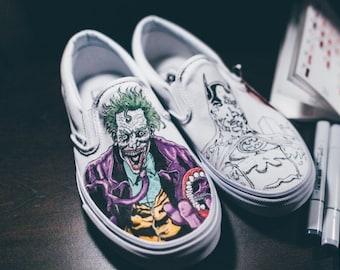 b3f95004a5d2 Batman Joker Custom Vans Slip-Ons