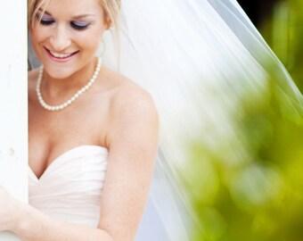 Cathedral Blush Veil | 2 Layer Veil | Soft Wedding Veil | Simple Veil | Veil Cathedral | White Blusher Veil | Long Simple Veil | Soft Veil
