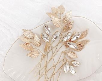 Gold Leaf Hairpin Set, Gold Leaf Hairpins, Crystal Hairpins, Wedding Hairpin Set