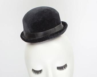 ca433d66efc Mini Black Velvet Bowler Hat Fascinator