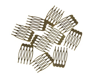"""Metal Millinery or Veil Hair Comb 1"""" Wide Bronze - 10 Pieces"""