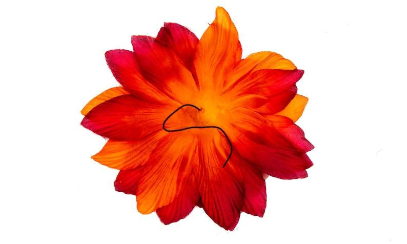 M /& S Schmalberg Fabric Flower Handmade Red Orange Dahlia 6 12