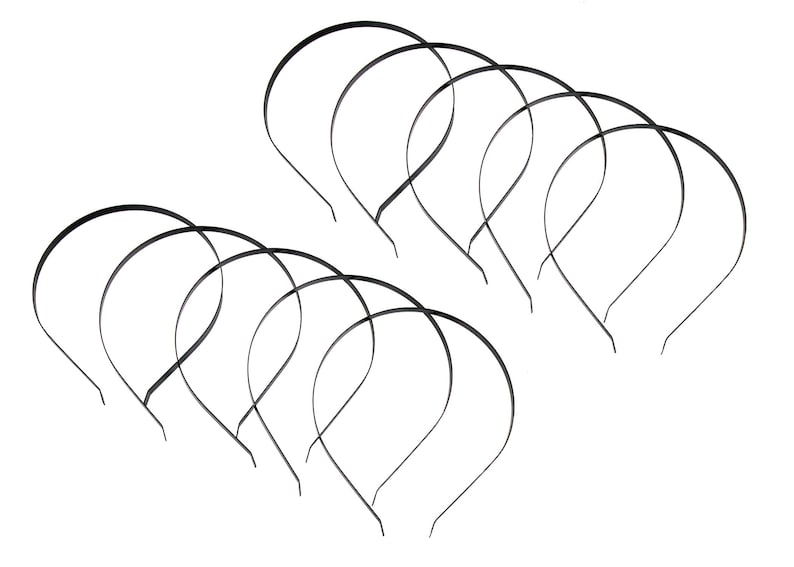 Black Flat Band Metal Headbands 7 mm Wide 10 Pieces
