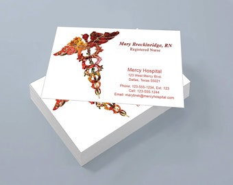 Custom business card etsy custom business cards for nurse or doctor flower caduceus 02 set of 100 2 x 35 cards nurse business cards doctor business cards reheart Gallery