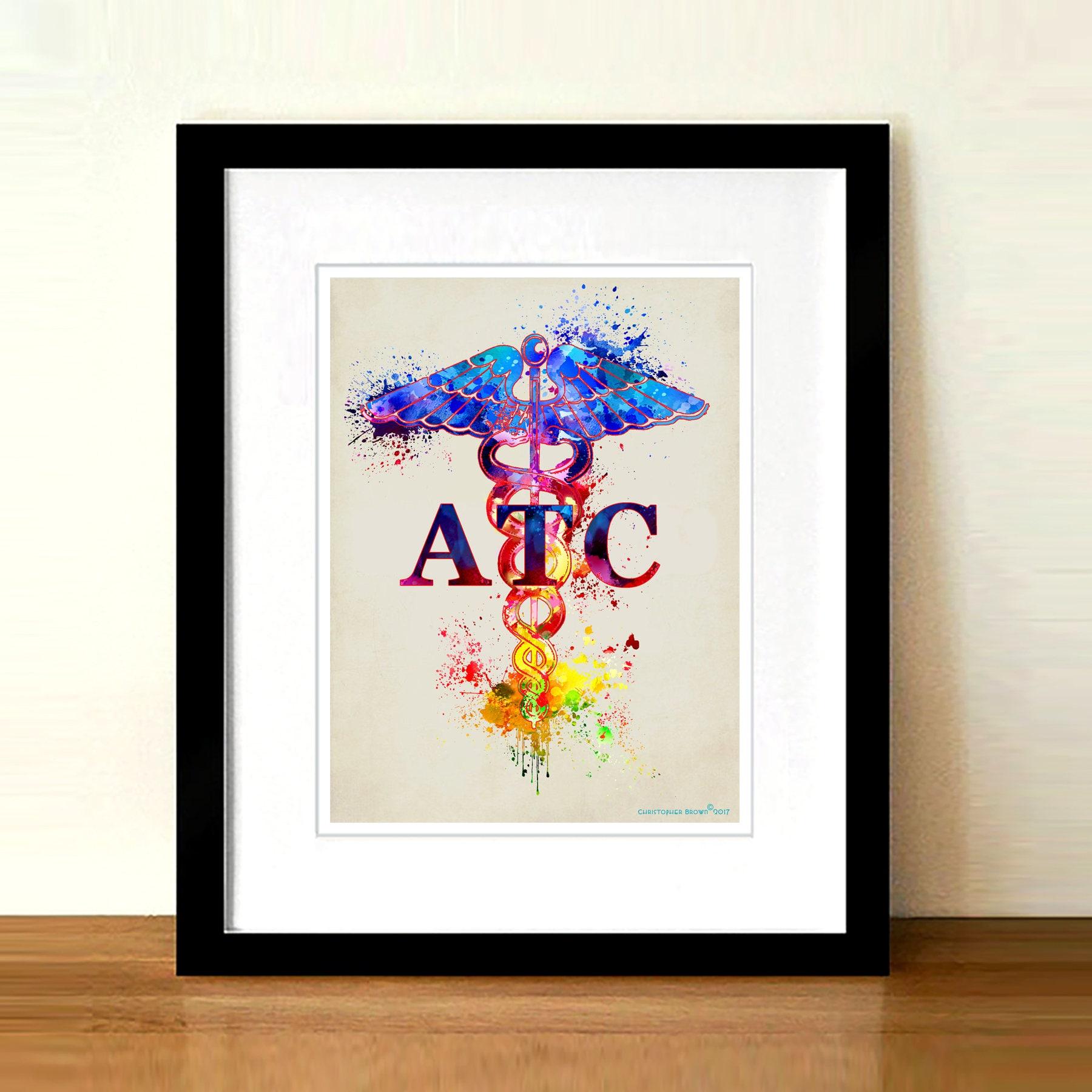 Certified Athletic Trainer Atc Fine Art Print Caduceus Etsy