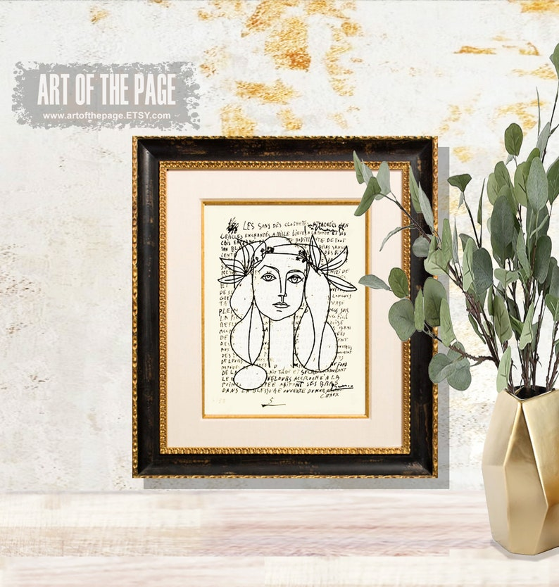 printed on a letter written by Picasso Line Drawing of Francoise Gilot Modern Art Picasso print 8.5x11 Fine Art Print Picasso