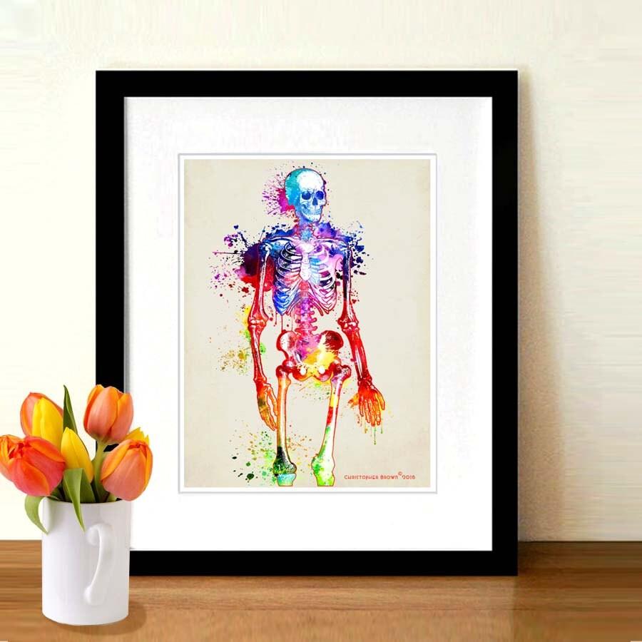 Menschliche Anatomie Skelett Aquarell 85 x 11 | Etsy