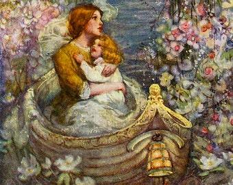 Beautiful Lush Boat Among Fairy Garden.  VINTAGE Fairy Illustration. Digital Fairy Tale DOWNLOAD. Vintage Digital Fairy Tale Print.