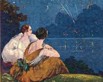 Starry Starry Night. Art Deco Flappers Postcard. VINTAGE Digital Illustration. Art Deco Digital Download