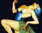 PEACOCK PLUMES Vintage Digital FLAPPER Digital Pinup Flapper Download. Exotic Digital Pinup Art To Print.