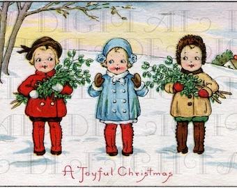3 Little Joyful CHRISTMAS Children Digital VINTAGE Illustration Christmas Download Vintage Print