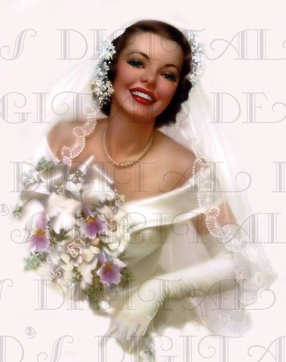 JUNE Bride Mid Century BRIDE Illustration Vintage Retro