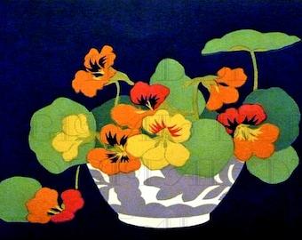 RARE. Scrumptious Colorful Bowl of NASTURTIUMS! Vintage FLOWER Illustration. Vintage Digital Flower Download. Flowers Printable Image.