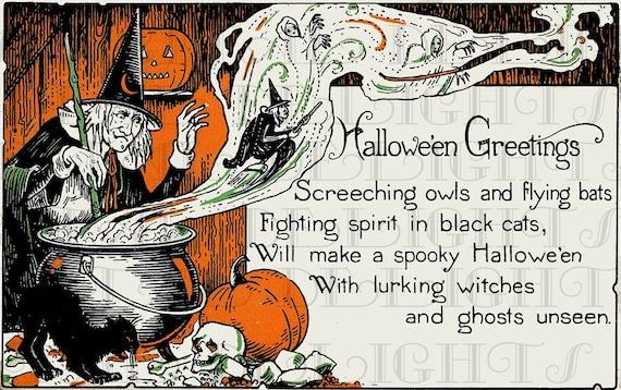 Creepy Scary Witch Brewing Up Some Spells Vintage Halloween Digital Download Vintage Halloween Illustration Digital Halloween Print