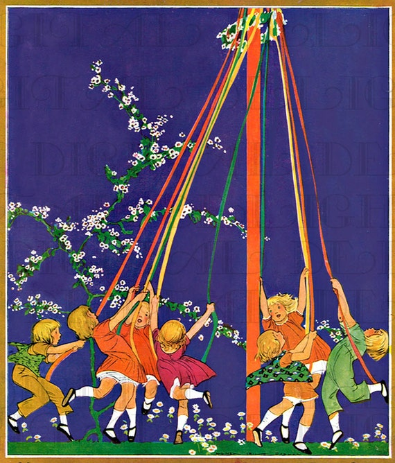 Maypole Dancing in Dorset by Albert Rutherston 1923 Ready to Frame Vintage Childrens Print Matted