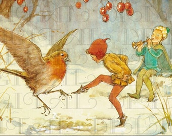 Elf And Robin Dance. Fairy  VINTAGE  Illustration. Fairies Digital Download. Vintage Fairy Print