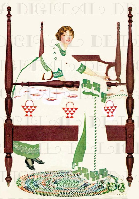 four poster bed quilt coles phillips vintage deco. Black Bedroom Furniture Sets. Home Design Ideas