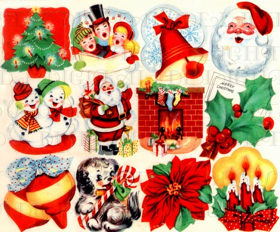 Vintage Christmas Illustrations.Retro Digital Vintage Christmas Stickers Vintage Digital Christmas Illustrations 1950s Digital Christmas Download Digital Christmas Card