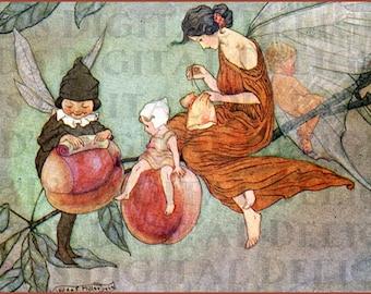 A Peach of a FAIRY. Vintage  Illustration. Fairy DIGITAL Download. Vintage Fairy Digital PRINT