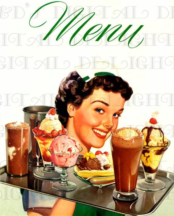Waitress, Ice Cream, Diner MENU  Genuine 1950s DIGITAL Retro Vintage Menu  Cover  Vintage Illustration Digital Download