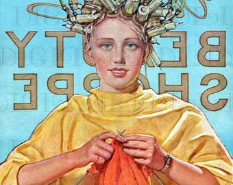 BEAUTY Shop Torture?  Art Deco Flapper Vintage Illustration. Flapper Digital Download. Printable Art Deco Flapper Digital Download.
