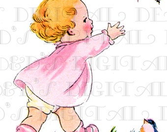 BABY Tries To Catch BUTTERFLY!  Vintage Child Illustration. Digital Download. Vintage Child Digital Print.
