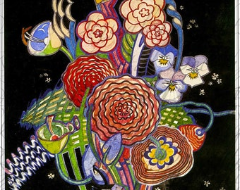 RARE. Scrumptious Art Deco Vase  of Flowers! Vintage FLOWER Illustration. Vintage Digital Flower Download. Vintage Flowers Printable Image.