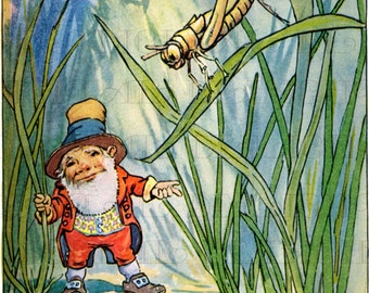 Wonderful Little GNOME! Digital Fairy Download. Vintage Gnome Illustration. Fairy DIGITAL Download. Digital Gnome!