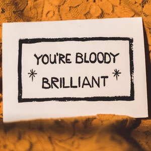 Blank Card Birthday Wedding Congratulations Thinking of You Card Block Print Linocut Handmade Bloody Brilliant 5 Pack Greeting Cards