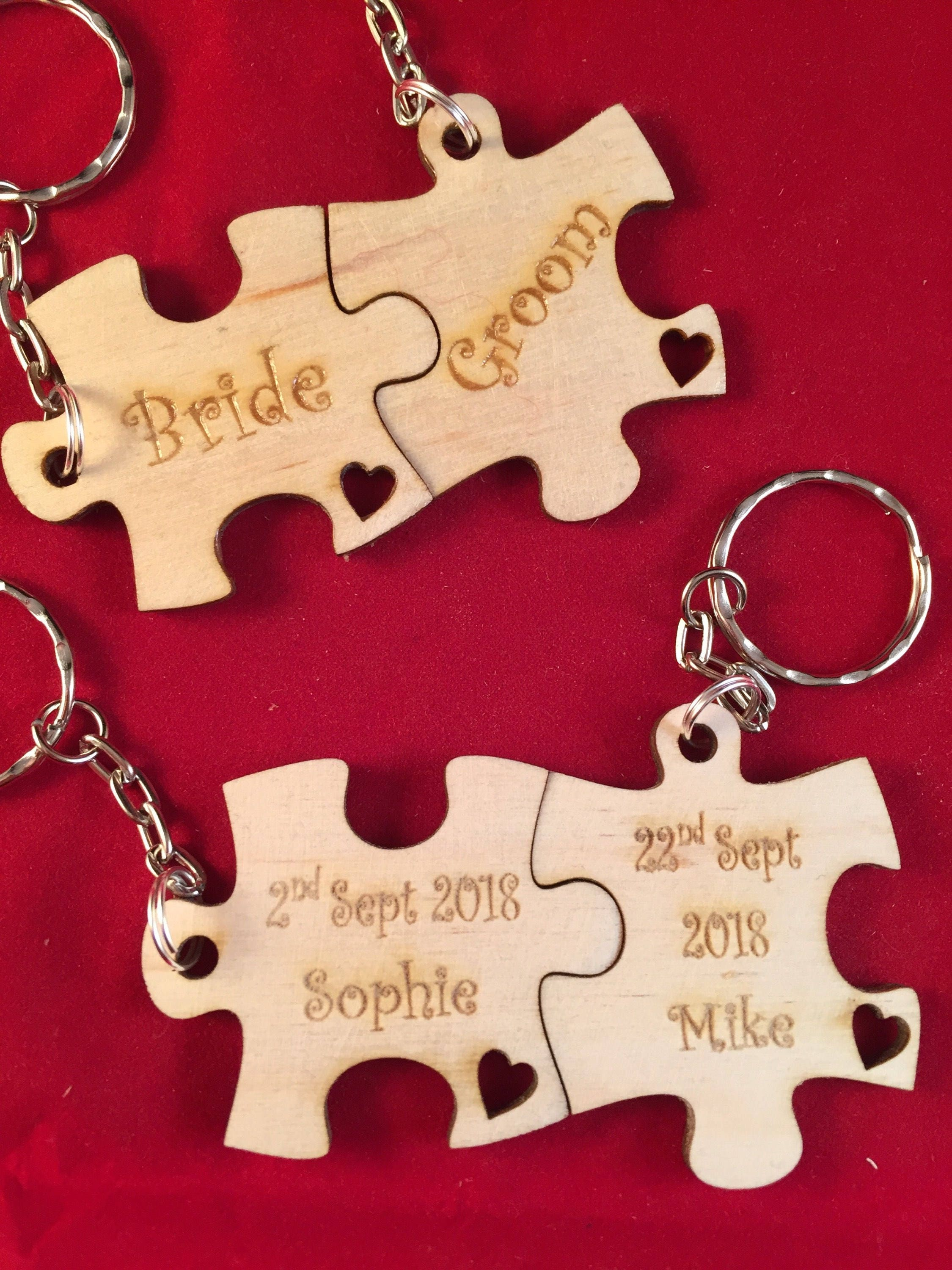 Personalised jigsaw piece keyring gift for bride & groom | Etsy