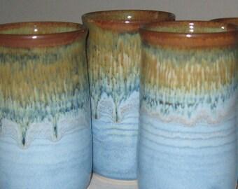 Pottery Iced Tea Tumbler in Sand 'n' Sea Blue and Gold, 14 oz Handleless Mugs, Wheel Thrown