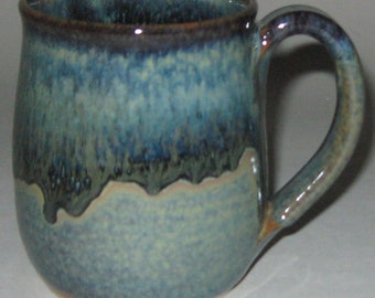 Pottery Mug, Large 16 oz Blue Lagoon, Wheel Thrown, Microwave Dishwasher Safe