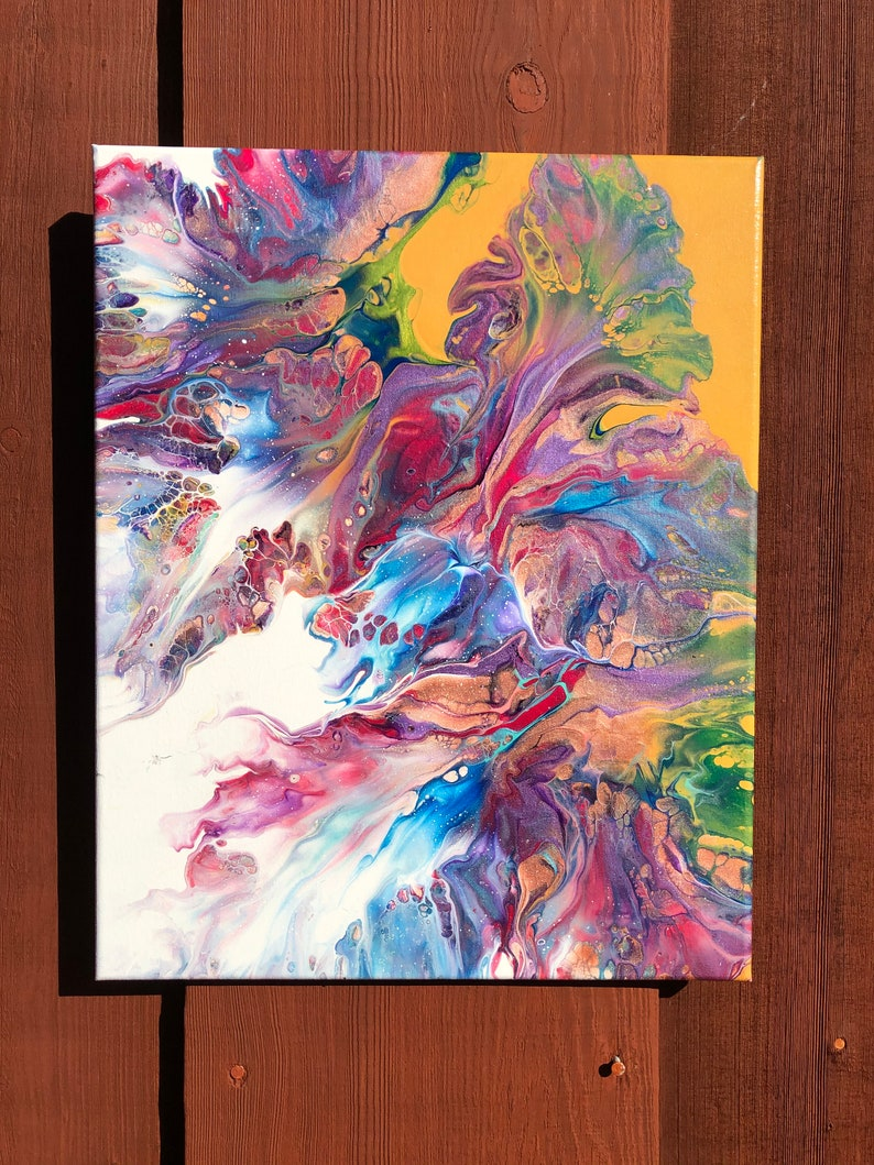 Gift for mom/'s home 20x16 canvas Bright colors painting Colorful wall decor Fluid acrylics abstract painting Dutch pour flowers