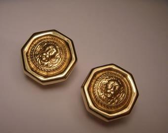 40a1b94b83a Stunning 14K Yellow Gold Versace Designer French Clip Octagonal Earrings