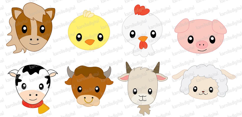 Farm animals faces clip art set | EtsyClip Art Pictures Of Farm Animals