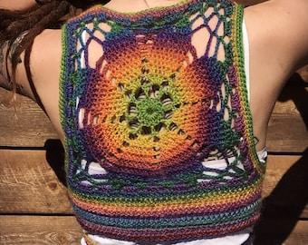 Rainbow Luna Mandala Wrap Vest
