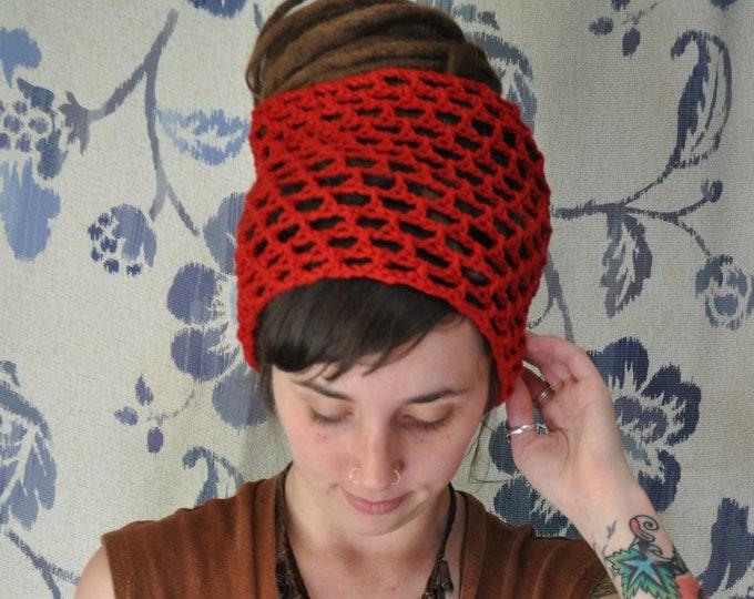 Red Organic Cotton Crochet Dreadlock Headband // Hairband for long hair