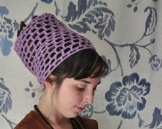 Lilac Organic Cotton Crochet Dreadlock Headband // Hairband for long hair