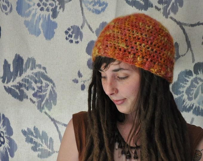 Fuzzy Orange Bulky Crochet Beanie