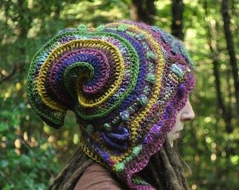 Colors of the Wind Freeform Crochet Hood // Ooak Fiber Art Scarf