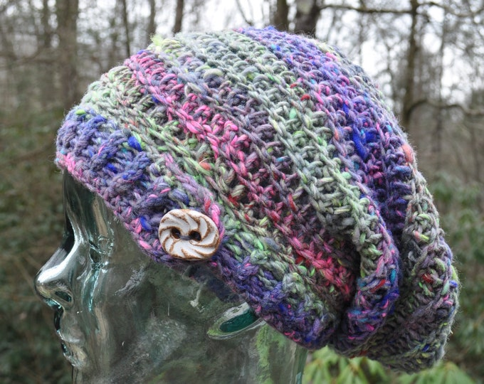 Dreamcatcher Crochet Slouchy Hat with Clay Button // Tam // UV Reactive // Organic Yarn // One of a Kind