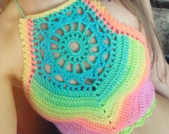 Crochet Pattern - Crop Top Halter Bikini High Neck Mandala Festival Bralette // Sunburst Crop Top PATTERN