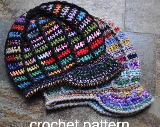 Crochet Pattern - Slouchy Ribbed Brim Hat Dreadlock Easy Winter Tam with Bill // Ridgeline Peaked Slouchy Hat PATTERN