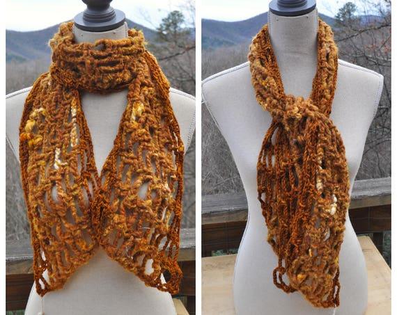 Homespun Earthy Art Yarn Scarf // Ooak Merino and Silk Crochet Scarf